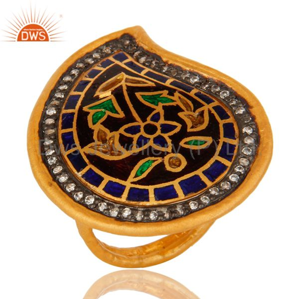 18K Yellow Gold Plated Sterling Silver Cubic Zirconia Ring With Enamel Design