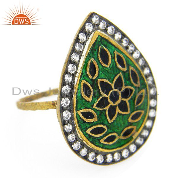 22K Yellow Gold Plated Sterling Silver Hammered Band Ring With Enamel And CZ