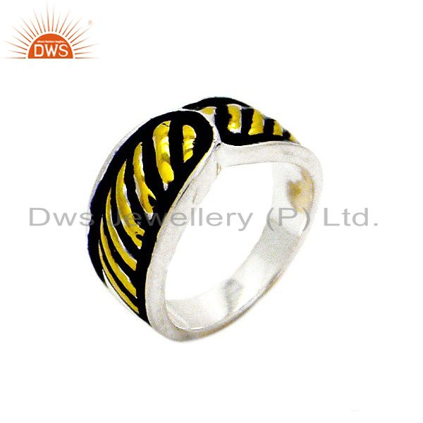 18K Yellow Gold Plated Sterling Silver Black Enamel Work Wedding Band Ring