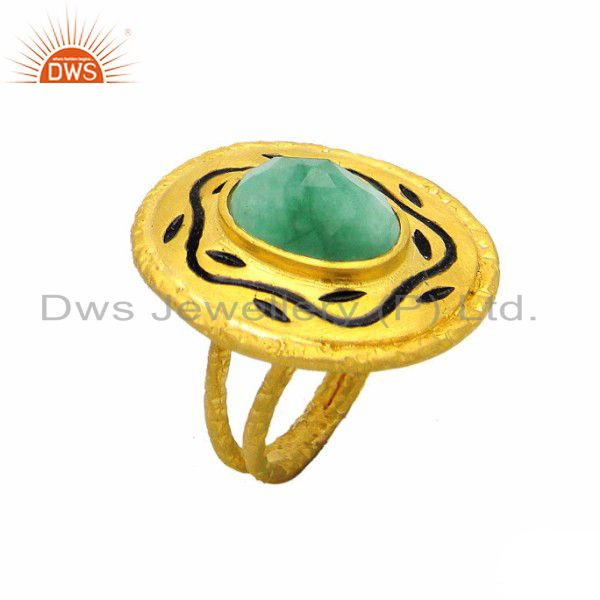 18K Yellow Gold Plated Sterling Silver Emerald Cocktail Ring With Enamel Work