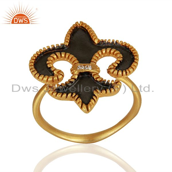 22K Yellow Gold Plated Brass Fleur De Isr Hammered Cocktail Ring With Enamel