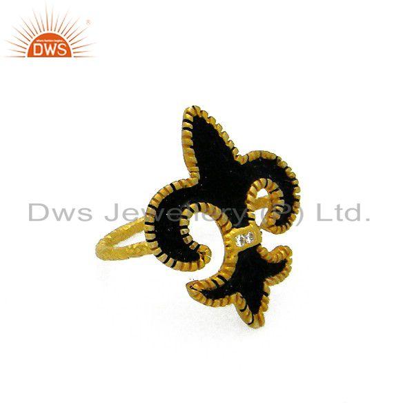 18K Gold Plated Sterling Silver CZ Fleur De Lis Sign Ring With Black Enamel