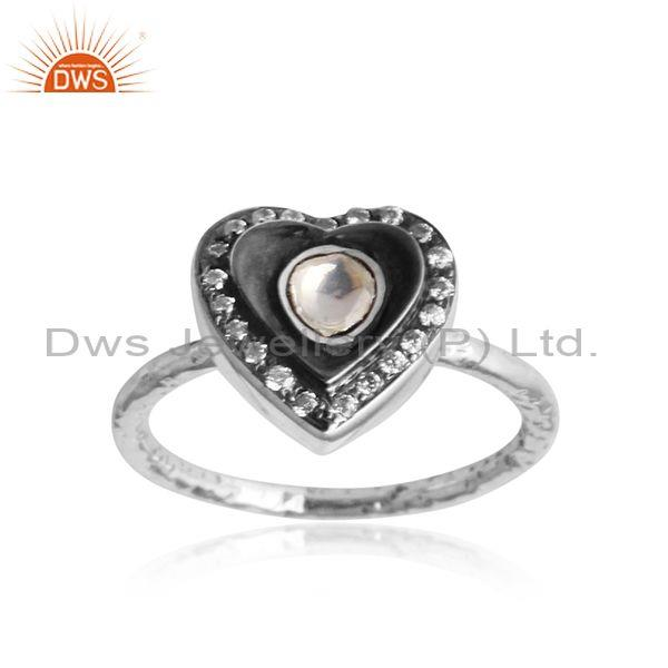 Crystal Quartz, CZ Heart Shaped Oxidized Silver Boho Ring