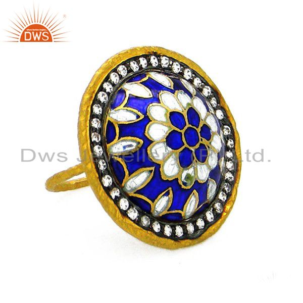 22K Yellow Gold Plated Sterling Silver Enamel Pattern Cocktail Ring With CZ