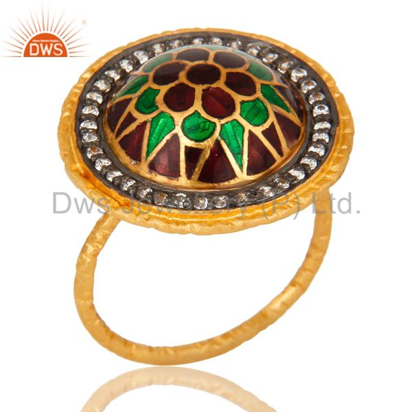 22K Gold Plated Sterling Silver Enamel Design Indian Fashion Cocktail Ring