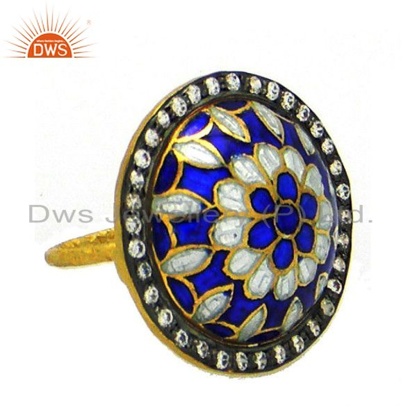 22K Yellow Gold Plated Sterling Silver Blue Enamel Work And CZ Cocktail Ring