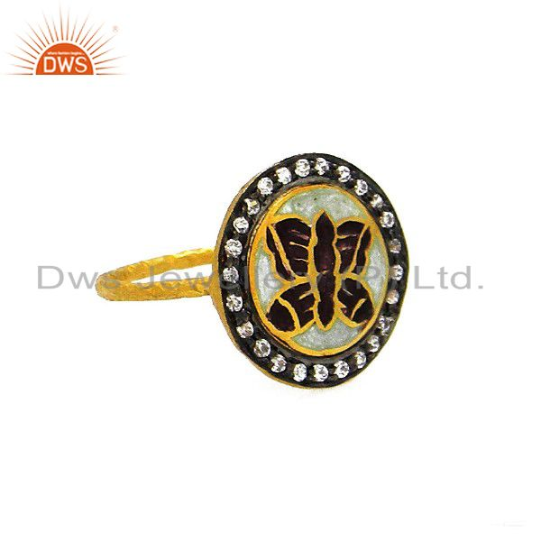 22K Yellow Gold Plated Sterling Silver Enamel Butterfly Design CZ Cocktail Ring