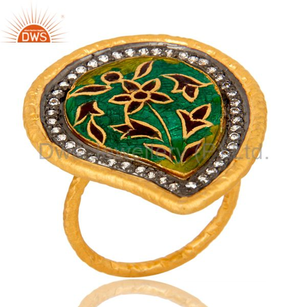 22K Yellow Gold Plated Sterling Silver CZ & Enamel Design Fashion Cocktail Ring