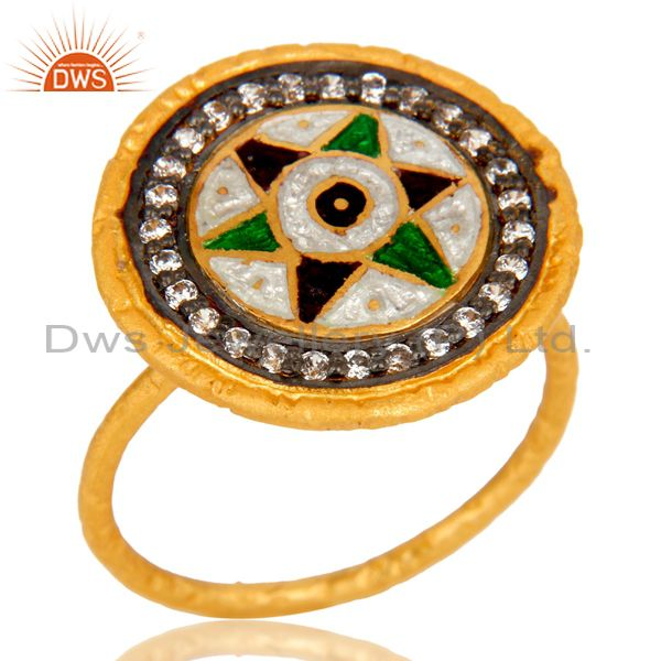 18K Yellow Gold Plated Sterling Silver CZ Enamel Designed Fashion Cocktail Ring