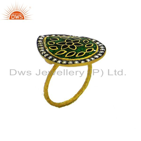 22K Yellow Gold Plated Sterling Silver Enamel Floral Design And CZ Cocktail Ring