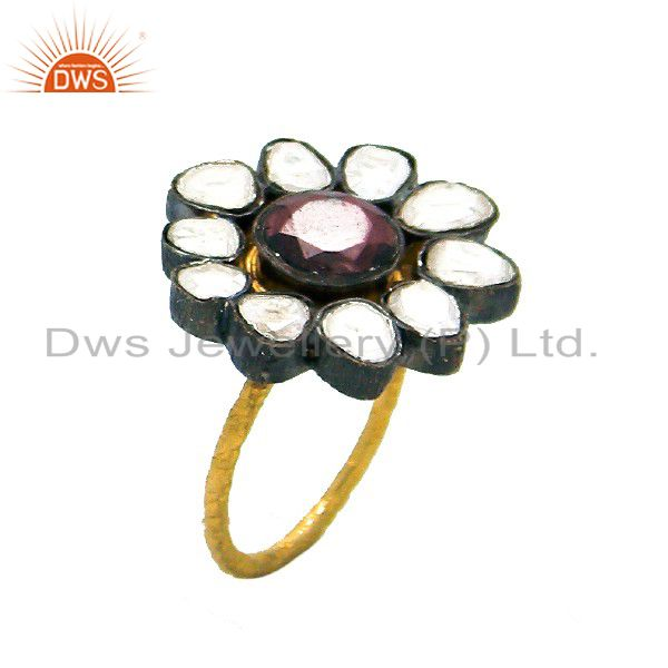 22K Yellow Gold Plated Sterling Silver Crystal Quartz CZ Polki Cocktail Ring