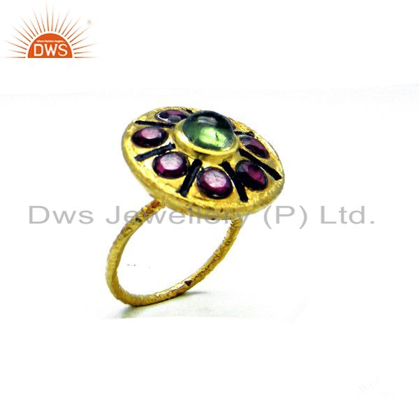 18K Yellow Gold Plated Sterling Silver Green Tourmaline Cocktail Ring