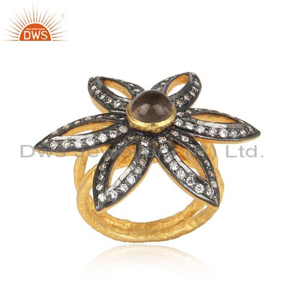 CZ And Smoky Gold, Black On 925 Silver Floral Statement Ring