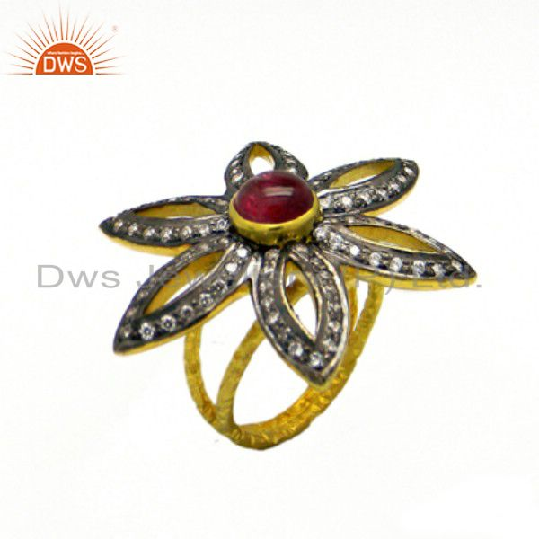 22K Yellow Gold Plated Sterling Silver Tourmaline And CZ Flower Cocktail Ring