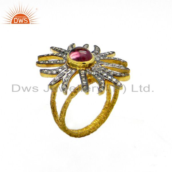 22K Yellow Gold Plated Sterling Silver Pink Tourmaline And CZ Statement Ring