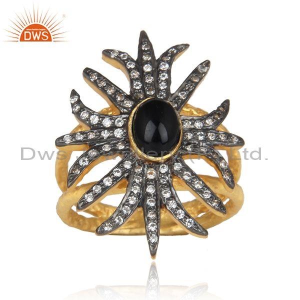 Black onyx and cz gold, black plated silver statement ring