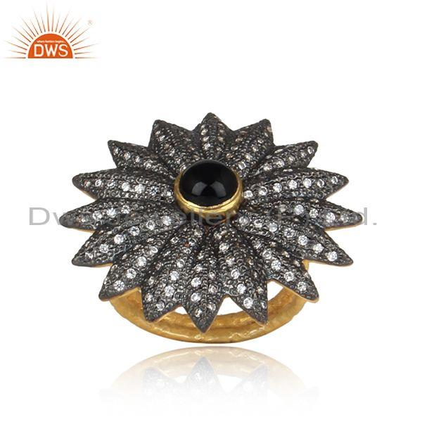 CZ And Black Onyx Gold And Black On Silver Bold Floral Ring