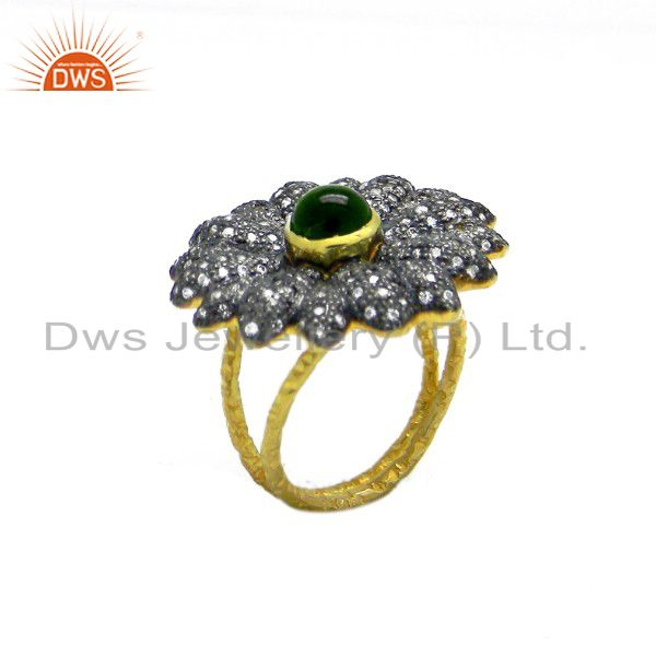 22K Yellow Gold Plated Sterling Silver Green Tourmaline And CZ Cocktail Ring
