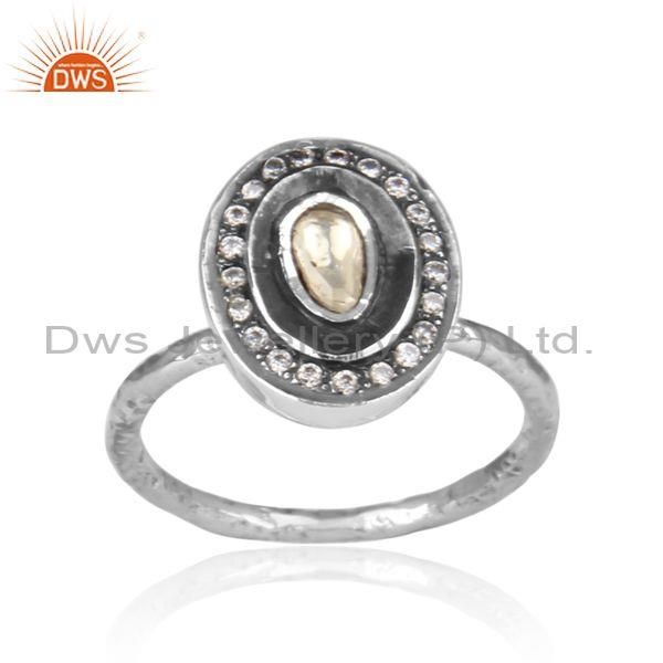 CZ And Crystal Quartz Set Oxidized Silver Oval Shaped Ring