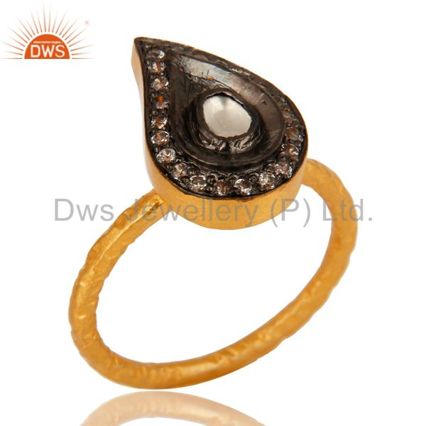 22K Yellow Gold Plated Sterling Silver Crystal CZ Polki Hammered Band Ring