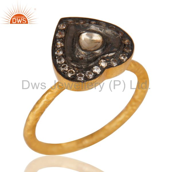 Handmade CZ Crystal Quartz Polki Gold Plated Solid Silver Fashion Ring