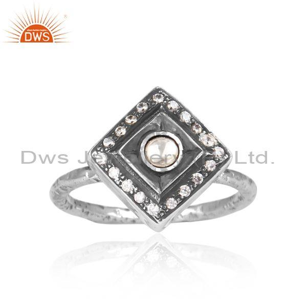 CZ And Crystal Quartz Set Oxidized Silver Traditional Ring