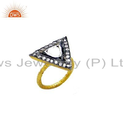 CZ Crystal Quartz Polki 14K Yellow Gold Plated Streling Silver Stacking Ring