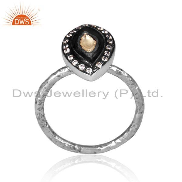 Cz and crystal quartz set oxidized silver tear shaped ring