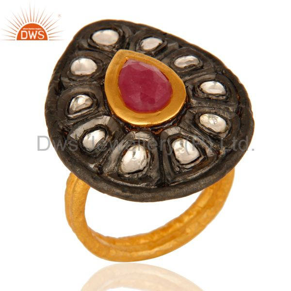 18K Yellow Gold Over Sterling Silver Ruby Victorian Style Ring With CZ Polki