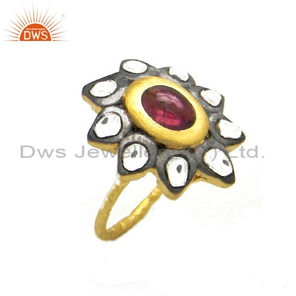 22K Gold Plated Sterling Silver Tourmaline And CZ Polki Victorian Stackable Ring