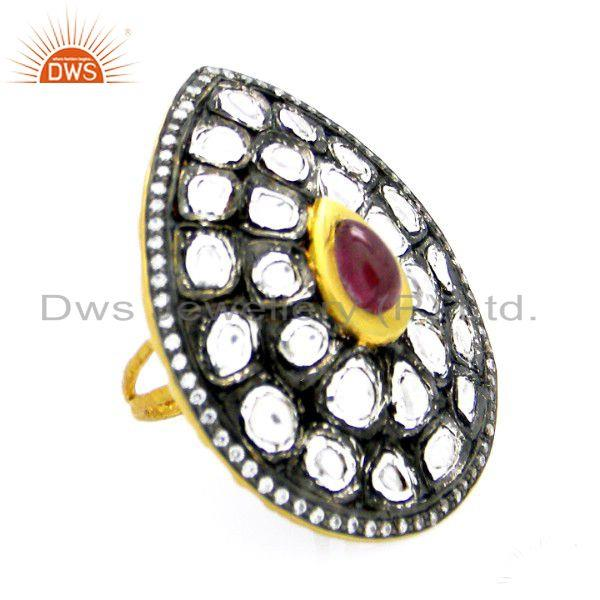 22K Gold Plated Sterling Silver Pink Tourmaline & CZ Polki Victorian Style Ring