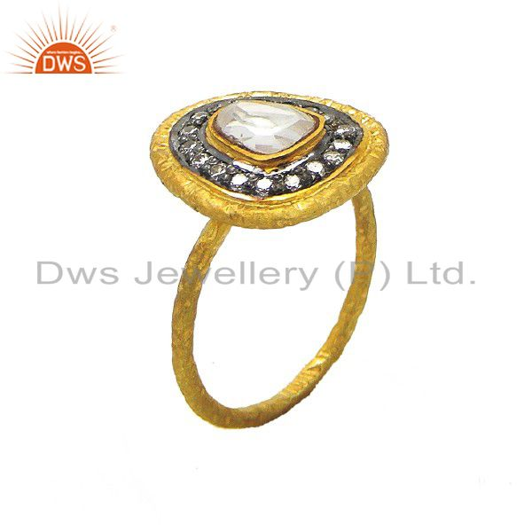 22K Yellow Gold Plated Sterling Silver Crystal Polki Victorian Style Stack Ring