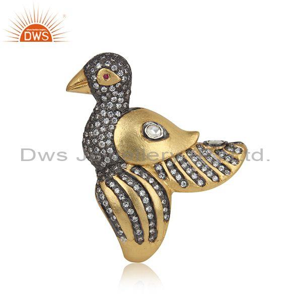 Handmade Bird Design Gold on Silver Ring with Ruby, Crystal and Cz