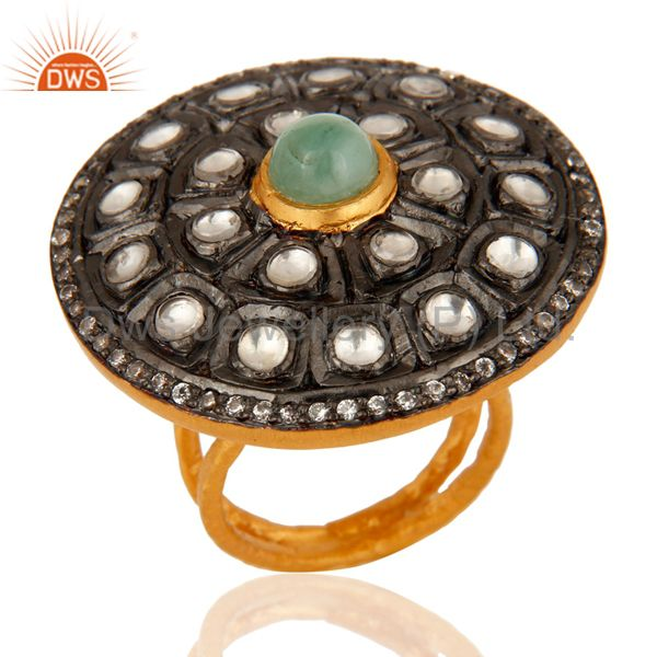 Emerlad Gemstone Sterling Silver Crystal Polki Victorian Look Ring - Gold Plated