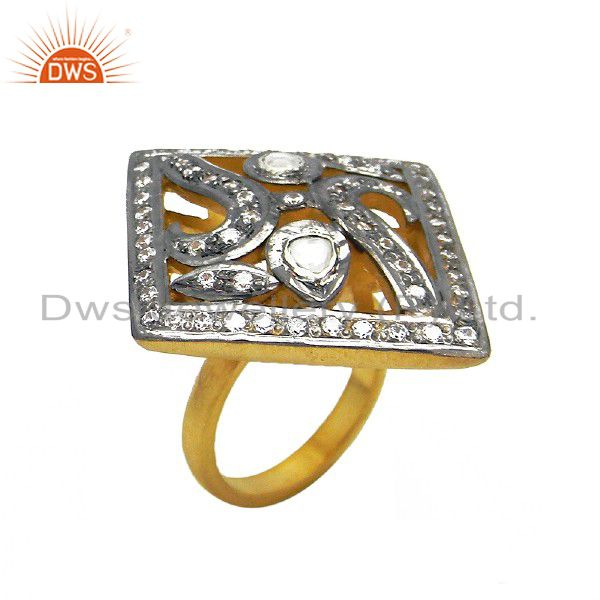 22K Gold Plated Sterling Silver CZ Crystal Polki Victorian Look Cocktail Ring