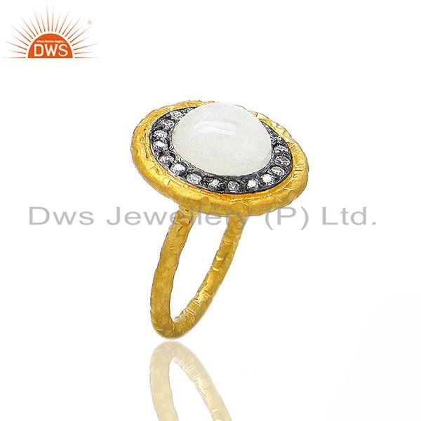 24K Gold Plated Sterling Silver Rainbow Moonstone Hammered Cocktail Ring