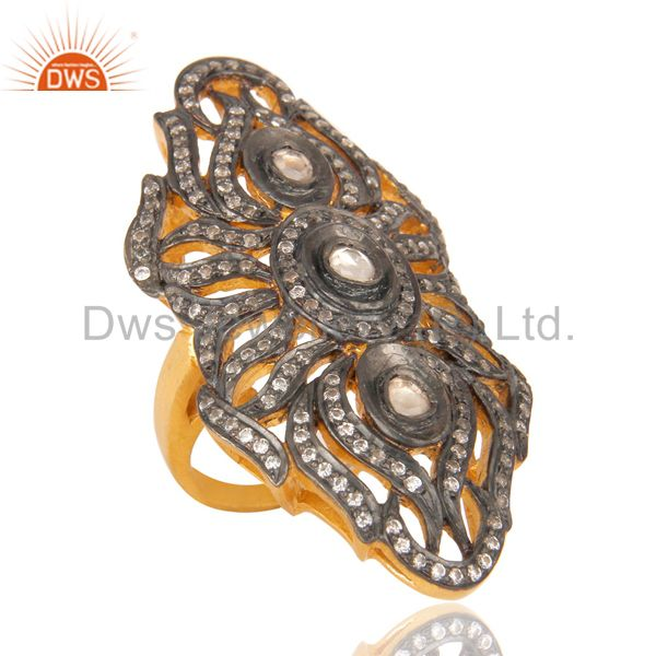 18K Yellow Gold Plated Sterling Silver Knuckle Ring With Crystal Quartz CZ Polki