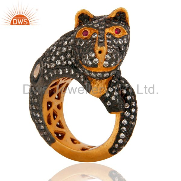 Black Panther Animal Cat Designs CZ Sterling Silver With Gold Plated Ring