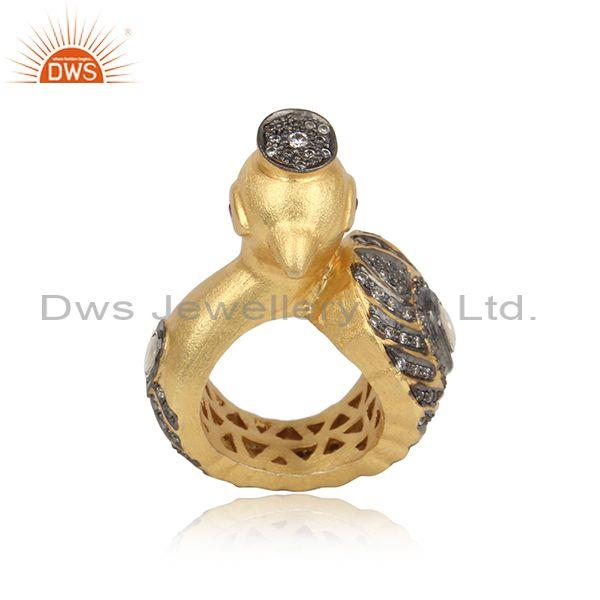Handmade Peacock Design Gold on Silver Ring with Ruby Crystal Cz
