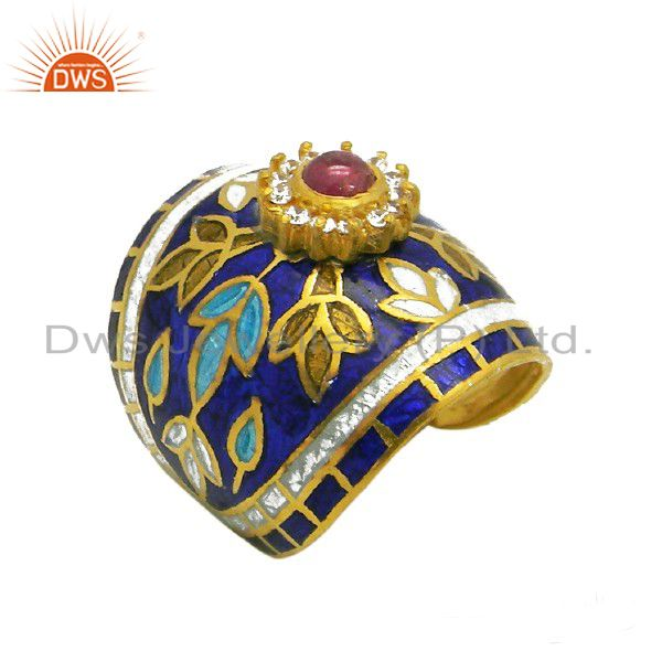 18K Gold Plated Sterling Silver Tourmaline And CZ Enamel Fashion Dome Ring