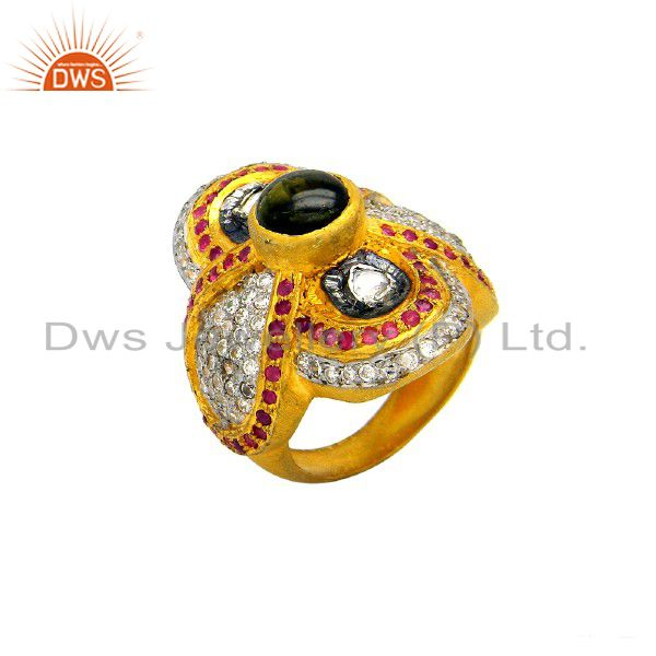 22K Yellow Gold Plated Sterling Silver Ruby And CZ Polki Designer Statement Ring