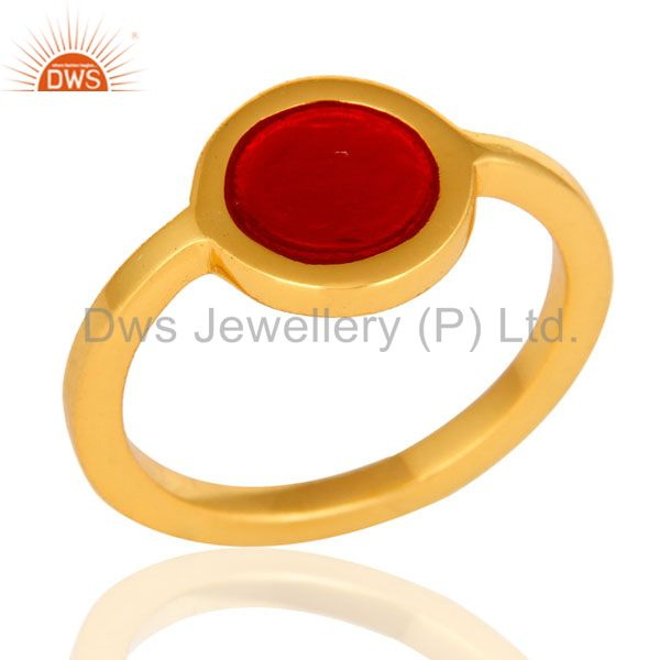 14K Yellow Gold Plated Sterling Silver Red Enamel Fashion Satcking Ring