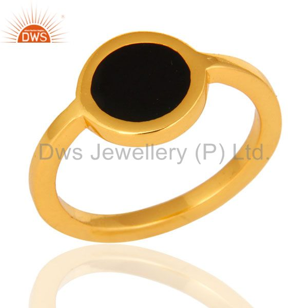 14K Yellow Gold Plated Sterling Silver Black Enamel Stacking Ring