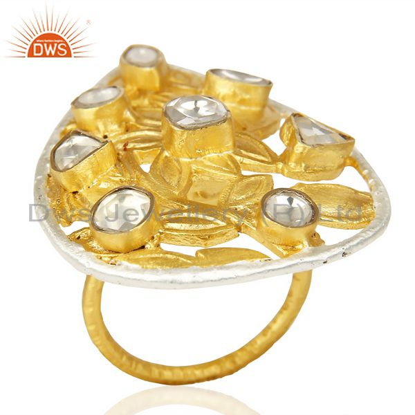 Crystal Quartz Stackable 14K Yellow Gold Plated Brass Ring Fashion Jewelry