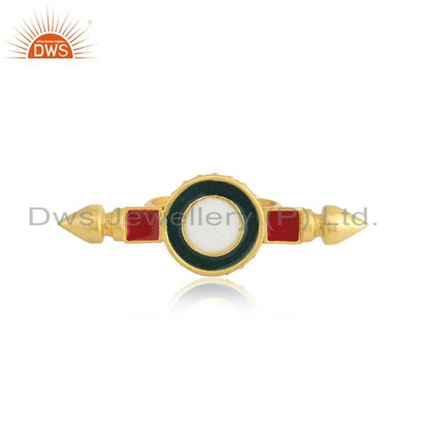 Yellow Gold Plated 925 Silver Plain Enamel Ring Jewelry Supplier