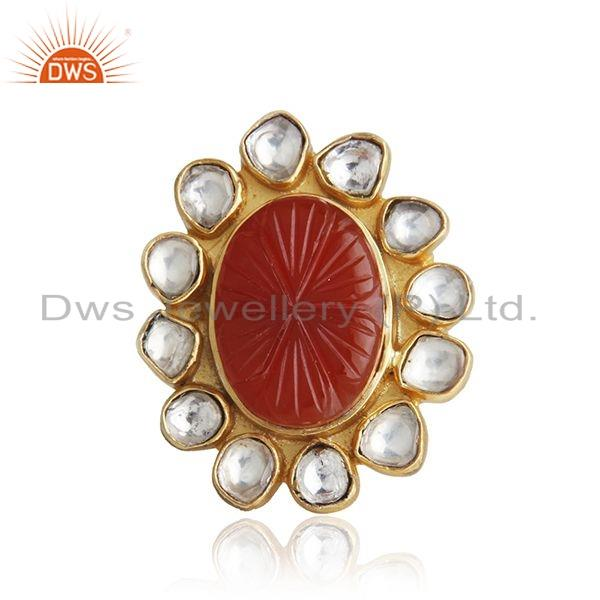 Hand Craving Natural Red Onyx Gemstone Gold Plated Silver Ring Jewelry
