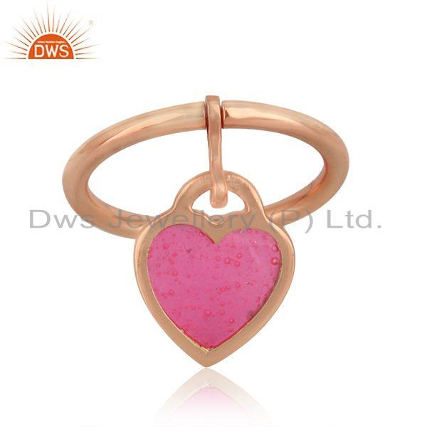 Pink enamel heart charm dainty ring in rose gold on silver 925