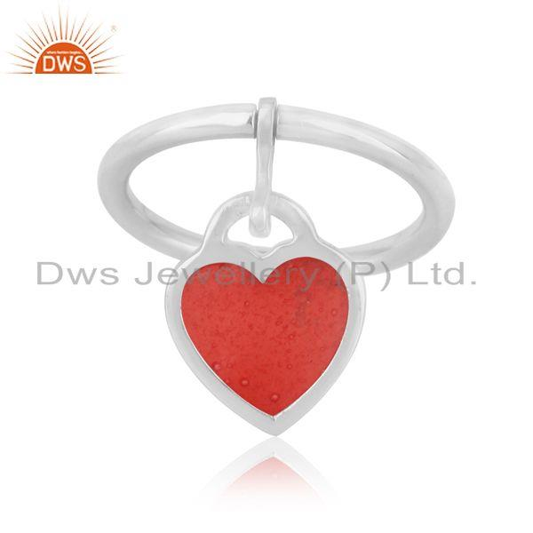 Red enamel heart charm dainty ring in rhodium over silver 925
