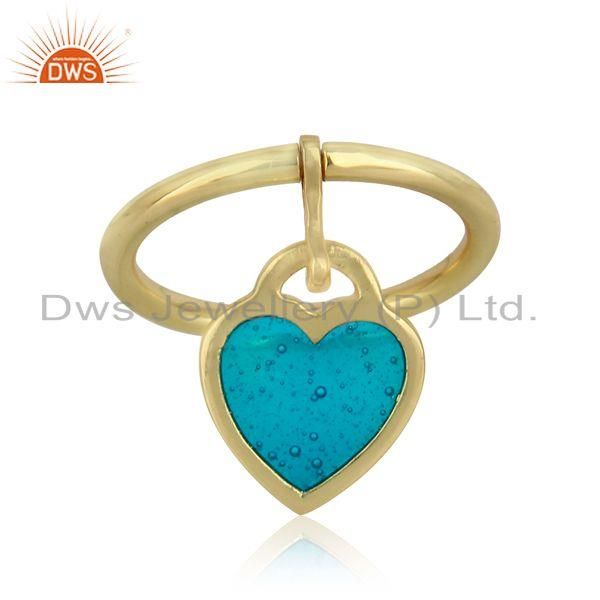 Dainty ring in yellow gold on silver 925 with light blue enamel