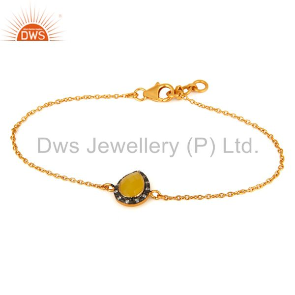 925 Sterling Silver With Gold Plated CZ & Yellow Moonstone Womens Gift Bracelet
